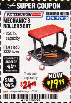 Harbor Freight Coupon MECHANIC'S ROLLER SEAT Lot No. 3338/61653 Expired: 11/30/18 - $19.99