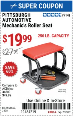 Harbor Freight Coupon MECHANIC'S ROLLER SEAT Lot No. 3338/61653 EXPIRES: 7/5/20 - $19.99