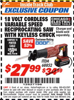 Harbor Freight ITC Coupon 18 VOLT CORDLESS VARIABLE SPEED RECIPROCATING SAW WITH KEYLESS CHUCK Lot No. 68852 Expired: 7/31/18 - $27.99