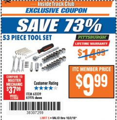Harbor Freight ITC Coupon 53 PIECE TOOL KIT Lot No. 63339/65976 Expired: 10/2/18 - $9.99
