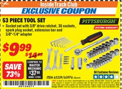 Harbor Freight ITC Coupon 53 PIECE TOOL KIT Lot No. 63339/65976 Expired: 1/31/19 - $9.99