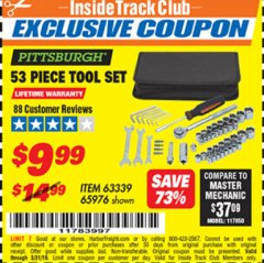 Harbor Freight ITC Coupon 53 PIECE TOOL KIT Lot No. 63339/65976 Expired: 3/31/19 - $9.99