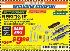 Harbor Freight ITC Coupon 53 PIECE TOOL KIT Lot No. 63339/65976 Dates Valid: 12/31/69 - 5/31/19 - $9.99
