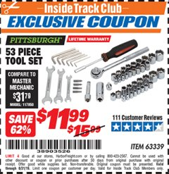 Harbor Freight ITC Coupon 53 PIECE TOOL KIT Lot No. 63339/65976 Expired: 8/31/19 - $11.99