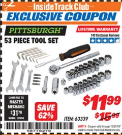 Harbor Freight ITC Coupon 53 PIECE TOOL KIT Lot No. 63339/65976 Expired: 10/31/19 - $11.99