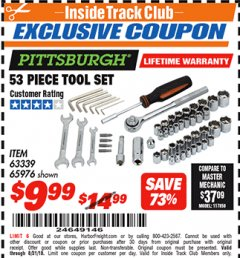Harbor Freight ITC Coupon 53 PIECE TOOL KIT Lot No. 63339/65976 Expired: 8/31/18 - $9.99