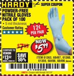 Harbor Freight Coupon POWDER-FREE NITRILE GLOVES PACK OF 100 Lot No. 68496/61363/97581/68497/61360/68498/61359 Expired: 10/7/18 - $5.99