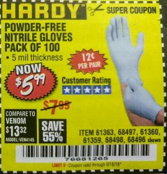 Harbor Freight Coupon POWDER-FREE NITRILE GLOVES PACK OF 100 Lot No. 68496/61363/97581/68497/61360/68498/61359 Expired: 9/18/18 - $5.99