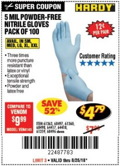 Harbor Freight Coupon POWDER-FREE NITRILE GLOVES PACK OF 100 Lot No. 68496/61363/97581/68497/61360/68498/61359 Expired: 8/26/18 - $4.79