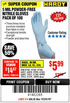 Harbor Freight Coupon POWDER-FREE NITRILE GLOVES PACK OF 100 Lot No. 68496/61363/97581/68497/61360/68498/61359 Expired: 12/24/18 - $5.99