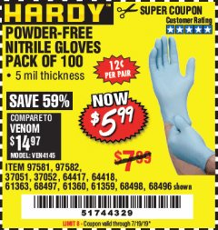 Harbor Freight Coupon POWDER-FREE NITRILE GLOVES PACK OF 100 Lot No. 68496/61363/97581/68497/61360/68498/61359 Expired: 7/19/19 - $5.99