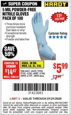 Harbor Freight Coupon POWDER-FREE NITRILE GLOVES PACK OF 100 Lot No. 68496/61363/97581/68497/61360/68498/61359 Valid Thru: 1/21/20 - $5.99