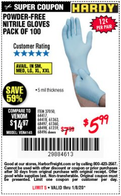 Harbor Freight Coupon POWDER-FREE NITRILE GLOVES PACK OF 100 Lot No. 68496/61363/97581/68497/61360/68498/61359 Expired: 1/8/20 - $5.99