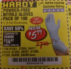 Harbor Freight Coupon POWDER-FREE NITRILE GLOVES PACK OF 100 Lot No. 68496/61363/97581/68497/61360/68498/61359 Valid Thru: 2/20/20 - $5.99