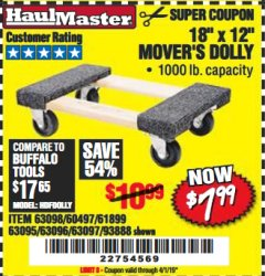 "Harbor Freight Coupon 18"" X 12"" HARDWOOD MOVER'S DOLLY Lot No. 93888/60497/61899/62399/63095/63096/63097/63098 Valid Thru: 4/1/19 - $7.99"